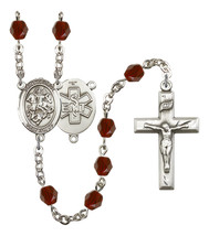 Women's St George Rosary Beads Silver Plated Birthstone January R6000GTS-8040S10 - $74.55