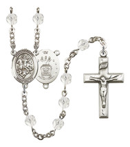 Women's St George Rosary Beads Silver Plated Birthstone April R6000CS-8040S1 - $74.55