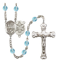 Women's St George Rosary Beads Silver Plated Birthstone March R6001AQS-8040S10 - $74.55