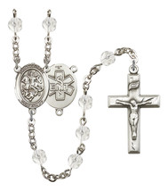 Women's St George Rosary Beads Silver Plated Birthstone April R6000CS-8040S10 - $74.55