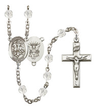Women's St George Rosary Beads Silver Plated Birthstone April R6000CS-8040S6 - $74.55