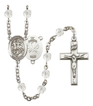 Women's St George Rosary Beads Silver Plated Birthstone April R6000CS-8040S5 - $74.55