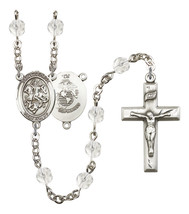 Women's St George Rosary Beads Silver Plated Birthstone April R6000CS-8040S4 - $74.55