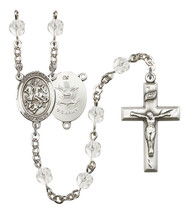 Women's St George Rosary Beads Silver Plated Birthstone April R6000CS-8040S2 - $74.55
