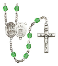Women's St George Rosary Beads Silver Plated Birthstone August R6000PDS-8040S1 - $74.55