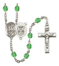 Women's St George Rosary Beads Silver Plated Birthstone August R6000PDS-8040S6 - $74.55