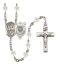 Women's St George Rosary Beads Silver Plated Birthstone April R6000CS-8040S3 - $74.55