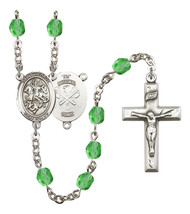 Women's St George Rosary Beads Silver Plated Birthstone August R6000PDS-8040S5 - $74.55