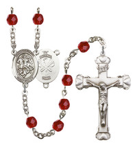 Women's St George Rosary Beads Silver Plated Birthstone July R6001RBS-8040S5 - $74.55