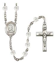 Women's St John Bosco Rosary Beads Silver Plated Birthstone April R6000CS-8055 - $74.55
