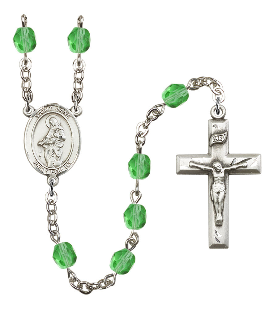 Women's St Jane Of Valois Rosary Beads Birthstone August R6000PDS-8029