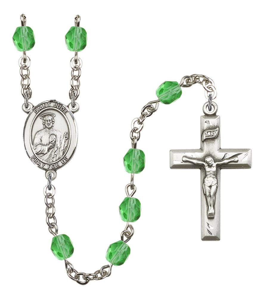 Women's St Jude Thaddeus Rosary Beads Birthstone August R6000PDS-8060