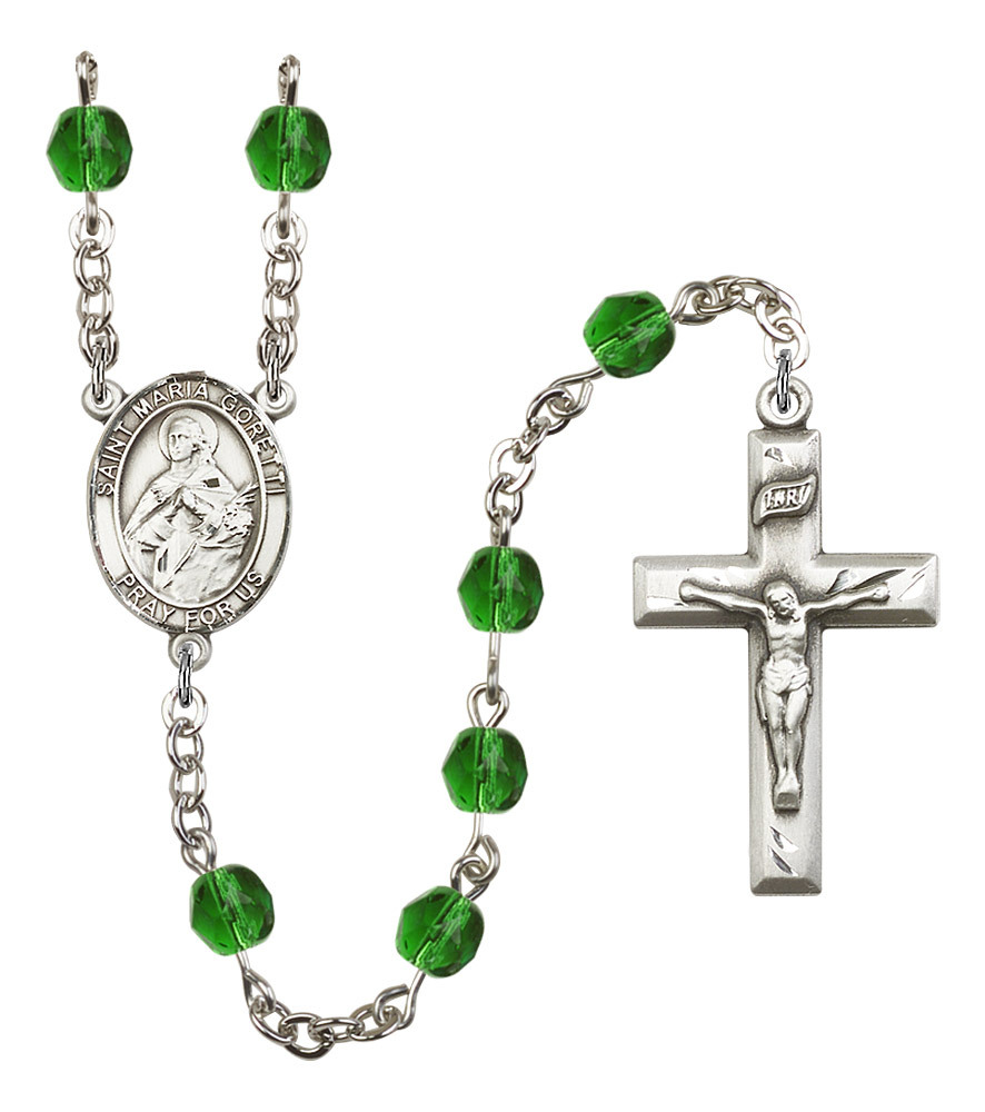 Women's St Maria Goretti Rosary Beads Silver Plated Birthstone May R6000EMS-8208
