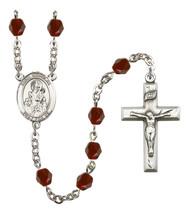 Women's St Nicholas Rosary Beads Silver Plated Birthstone January R6000GTS-8080 - $74.55