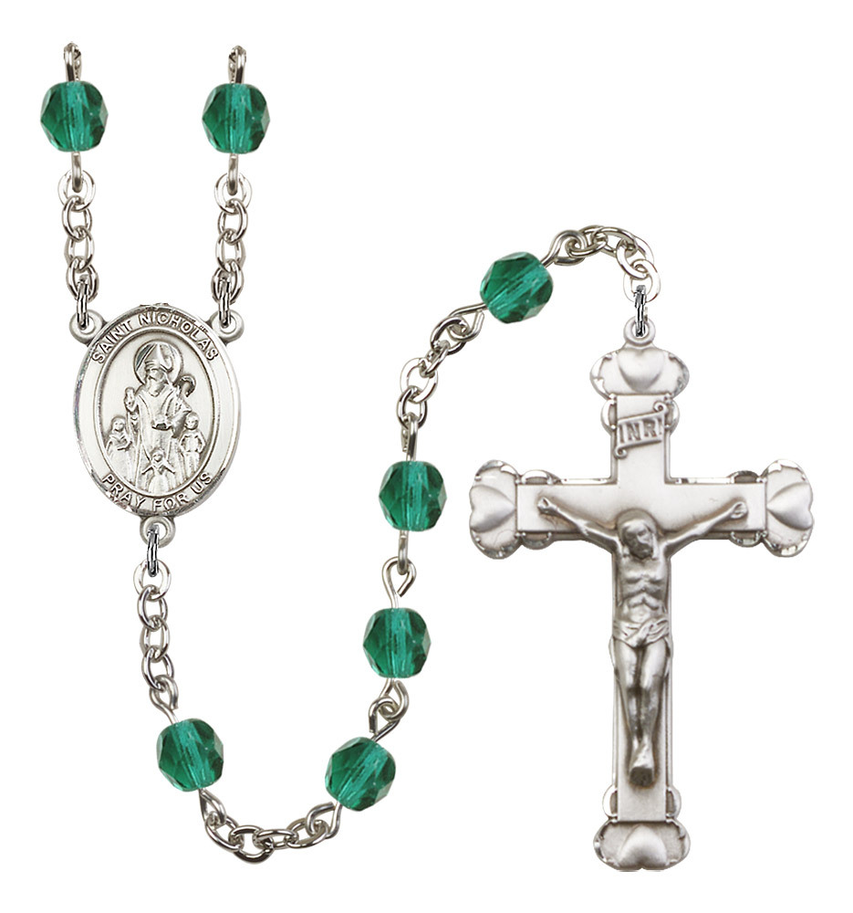 Women's St Nicholas Rosary Beads Silver Plated Birthstone December R6001ZCS-8080