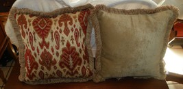 Pair of Red Gold Beige Print Throw Pillows - $59.95