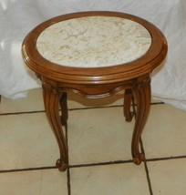 Oval Mahogany French Marble Top Side Table / End Table  (T418) - $149.00