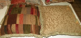 Pair of Beige Orange Rust Green Throw Pillows  20 x 20 - $59.95