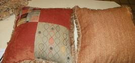 Pair of Rust Brick Grey Throw Pillows  20 x 20 - $59.95