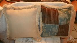 Pair of Green Brown Beige Patchwork Print Throw Pillows - $59.95