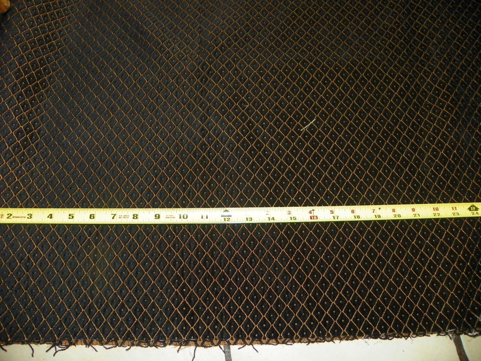 Black Gold Diamond Print Velvet Upholstery Fabric 1 Yard