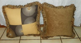 Pair of Brown Gold  Yellow Patchwork Print Pillows  18 x 18 - $53.95