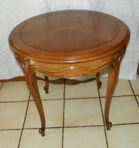 Round Pecan Book Match Veneer French Carved End Table / Lamp Table Drexel T356 - $399.00