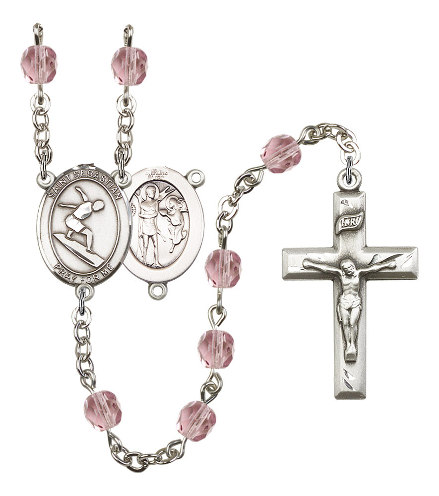 Women's St Sebastian Rosary Beads Silver Plated Birthstone June R6000LAMS-8175