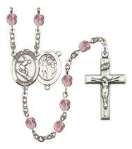 Women's St Sebastian Rosary Beads Silver Plated Birthstone June R6000LAM... - $74.55