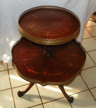 Mahogany Carved Inlaid 2 Tier Dumbwaiter Table / Parlor Table  (T299) - $699.00