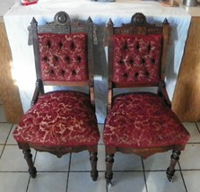 Pair of Walnut Carved Eastlake Parlor Chairs / Sidechairs  (SC187) - $799.00