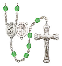 Women's St Sebastian Rosary Beads Silver Plated Birthstone August R6001P... - $74.55