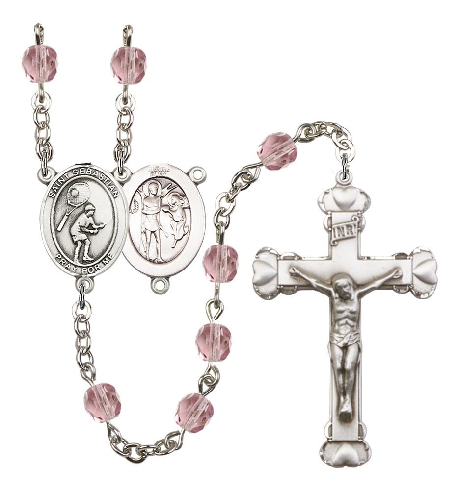 Women's St Sebastian Rosary Beads Silver Plated Birthstone June R6001LAMS-8605