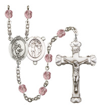 Women's St Sebastian Rosary Beads Silver Plated Birthstone June R6001LAM... - $74.55