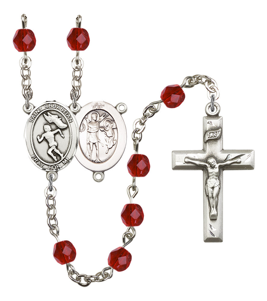 Women's St Sebastian Rosary Beads Silver Plated Birthstone July R6000RBS-8610