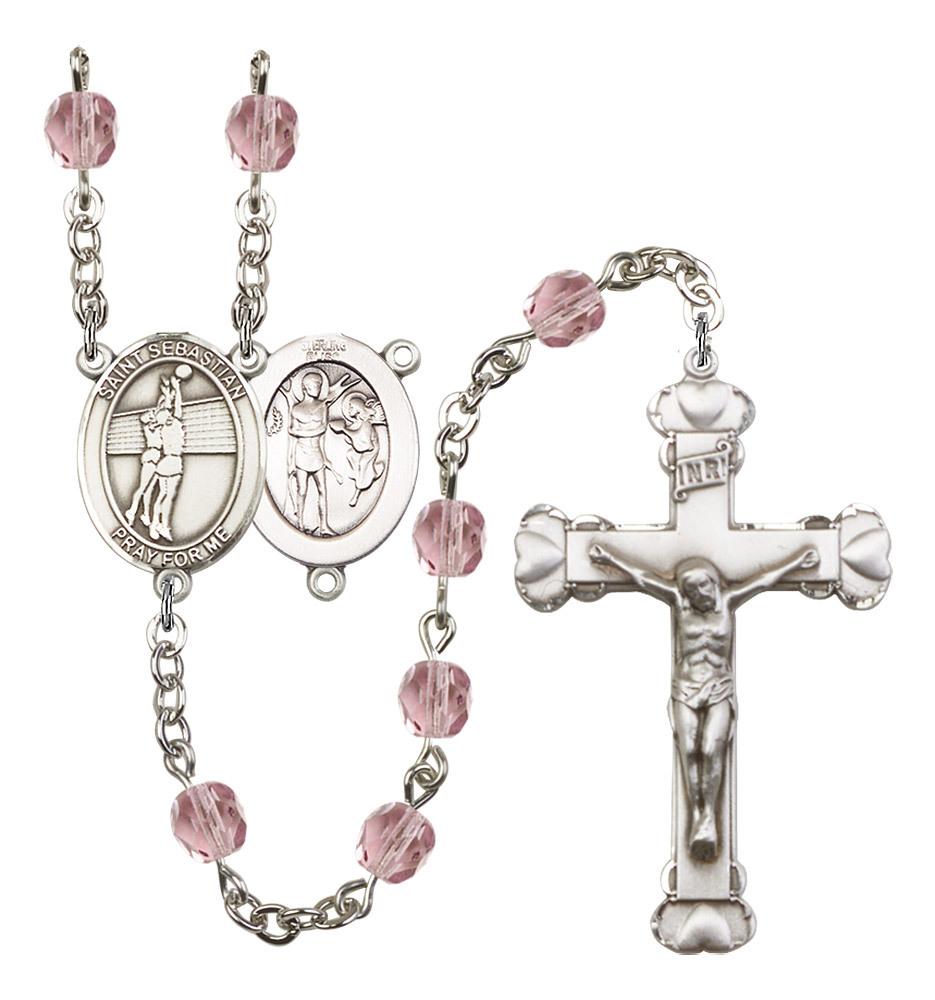 Women's St Sebastian Rosary Beads Silver Plated Birthstone June R6001LAMS-8186