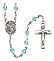 Women's Santa Teresita Rosary Beads Birthstone March R6000AQS-8106SP - $74.55