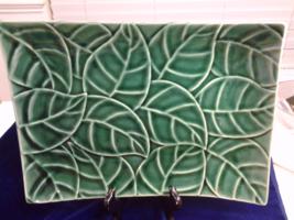 "Jade Leaves by Pier l, Rectangular Serving Platter,  13.25"" x 9.5"" EUC - $17.99"
