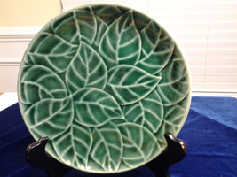 """Jade Leaves by Pier l, Salad Plate 8"""", Stoneware, Raised Leaves, Excellent - $7.75"""