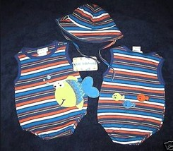 BOYS 3-6  MONTHS - Lil Jellybean -  Down by the Sea ROMPER & HAT SET - $25.50