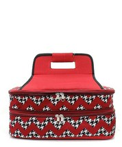 BURGUNDY HOUNDSTOOTH CHEVRON PRINT INSULATED CASSEROLE CARRIER! A GREAT ... - €35,26 EUR