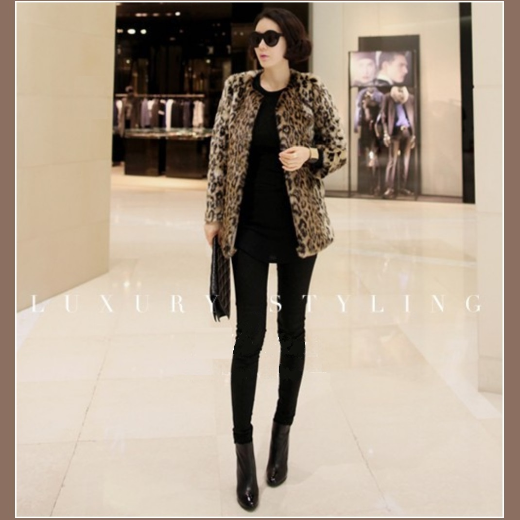 Golden Spotted Lynx Leopard Mid Length Long Sleeved Faux Fur Coat Jacket