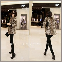 Golden Spotted Lynx Leopard Mid Length Long Sleeved Faux Fur Coat Jacket image 2