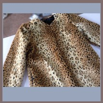 Golden Spotted Lynx Leopard Mid Length Long Sleeved Faux Fur Coat Jacket image 3