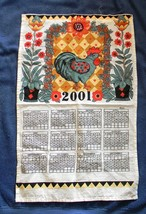 2001 COTTON KITCHEN CALENDAR TOWEL ROOSTER FLOWERS COLORFUL - $14.80