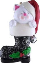 CAT IN CHRISTMAS BOOT WHITE ORNAMENT PET GIFT PRESENT PERSONALIZED FREE ... - $12.86
