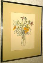 "Framed 1975 Mary Goertzen ""Poppies in a jar"" litho portal pub. print 75W... - $152.99"
