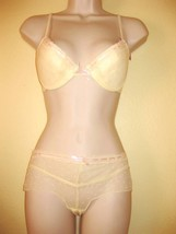 Nwt Stretch Lace Mesh Lined  Bra Bikini Set Sz 34B S Small Yellow Dot Print - $7.87