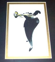 Framed Michel Canetti Trumpet Jazz Musician Litho Art Print - $94.49