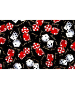 Red & White Dice Cotton Fabric by Shamash Gambling Loaded Dice FQ  18 x 22 - $3.00